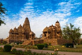 picture of kandariya mahadeva temple  - Kandariya Mahadeva Temple and Devi Jagadambhi Temple  - JPG