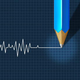 picture of flatline  - Euthanasia Medical Intervention as a medical health care concept of doctor social dilemma in end of life as a pencil drawing an ecg - JPG