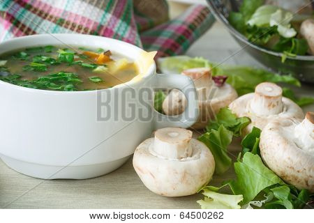 Soup With Mushrooms And Cheese