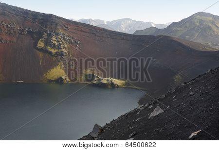 Iceland. South Area. Fjallabak. Ljotipollur Crater. Volcanic Landscape.