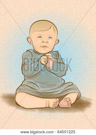 Retro Baby Illustration