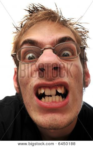Angry Ugly Man With Crooked Teeth And Glasses