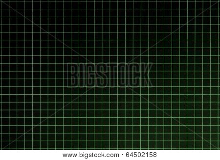 Graph grid, black surface with green lines. Shot square to image dimension