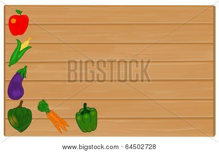 Vegetables Painted on Wood Sign with Copyspace for Text