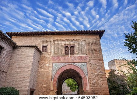 Alhambra Tower Moon From Walking Street Albaicin Granada Andalusia Spain