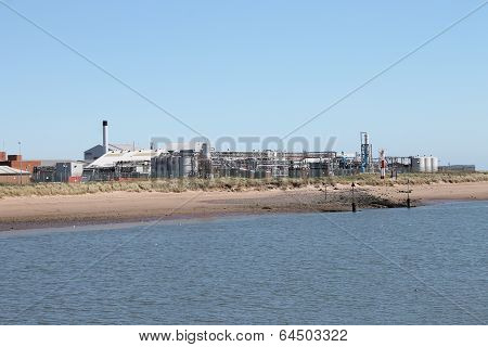 Pharmaceutical medicines factory by river