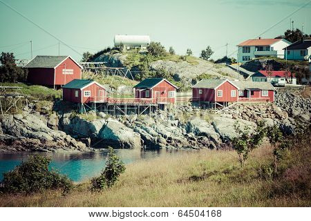 Typical Norwegian Fishing Village With Traditional Red Rorbu Huts, Reine, Lofoten Islands, Norway