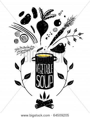 Cooking Vegetable Soup Food in Black