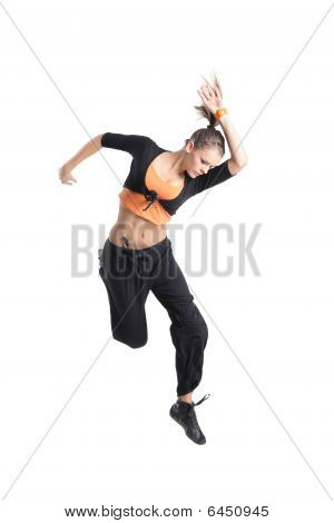 An Attractive Girl Jumping In The Air