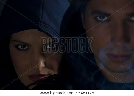 Bad Girl  And Boy In Gang With Smoke