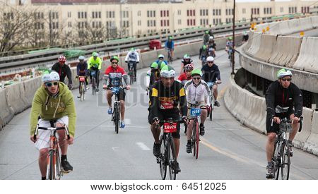 Bicyclists filling Brooklyn Queen Expressway