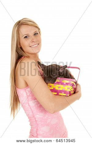 Woman Pink Tank Top Easter Basket Dog In Arms