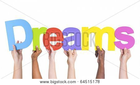 Multiethnic Group of Hands Holding Dreams