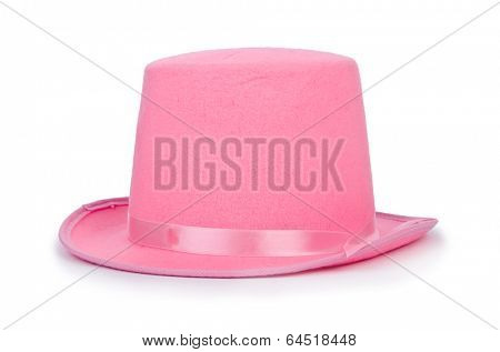 Pink topper hat isolated on the white