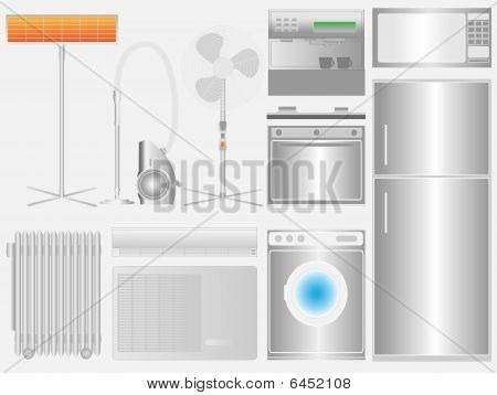 Household Appliances On Light Background