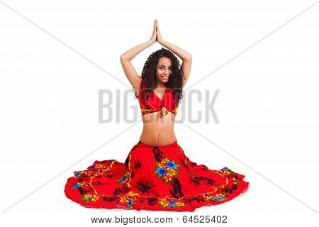 Beautiful African In The Active Arab Dance