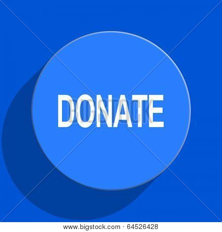 donate blue web flat icon