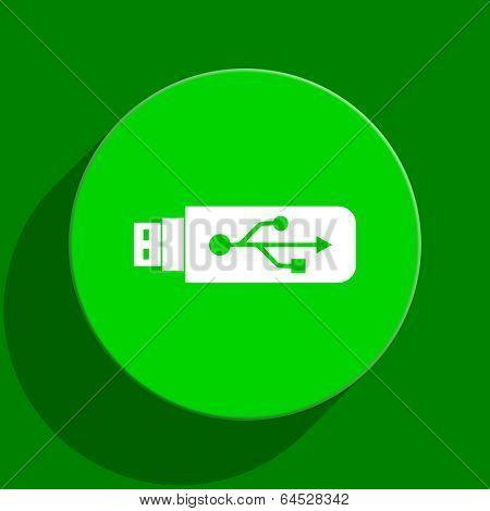usb green flat icon