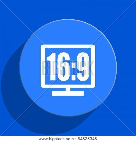 16 9 display blue web flat icon