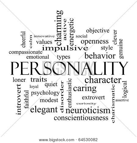 Personality Word Cloud Concept In Black And White