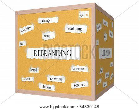 Rebranding 3D Cube Corkboard Word Concept