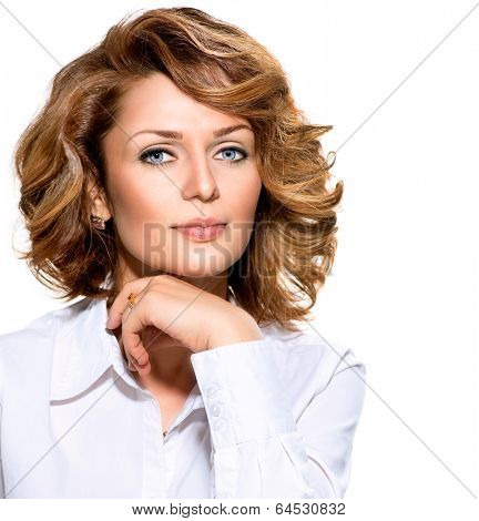 Confident middle aged Woman portrait. Businesswoman in white shirt looking at camera. Beautiful young woman professional isolated on white background.