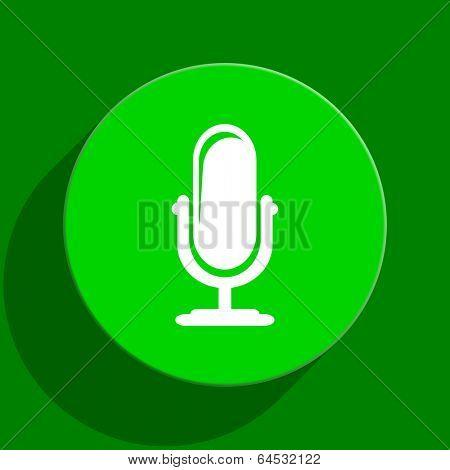 microphone green flat icon