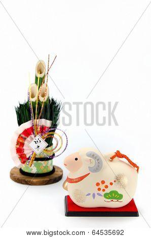 Figurine Of Sheep And New Year's Pine.
