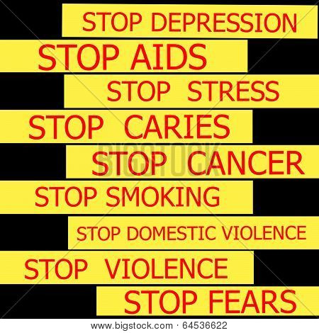Set Actual Slogans Written On A Yellow Ribbon On A White Background