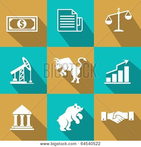 Vector financial icons in trendy flat style