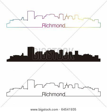 Richmond Skyline Linear Style With Rainbow