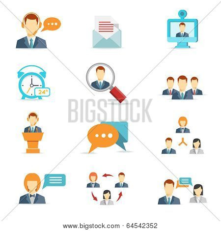 Business online communication and web conference icons