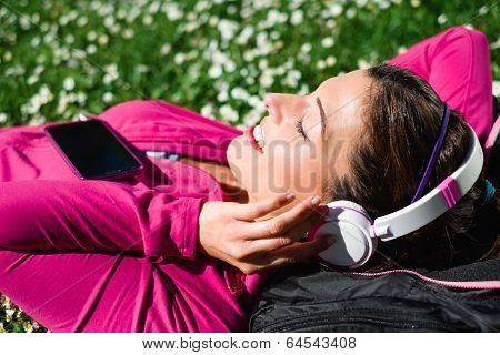 Sporty Woman Relax In Park After Workout