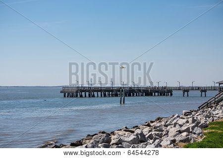 Pier By Rock Seawall