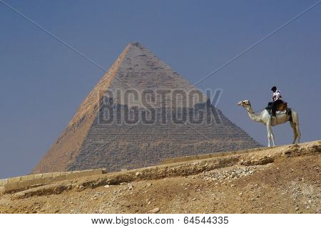 Pyramid of Khafre (Chephren) in Giza - Cairo, Egypt with a tourist police on a camel