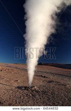 Geyser in Uyuni, Bolivia - Salt lake desert