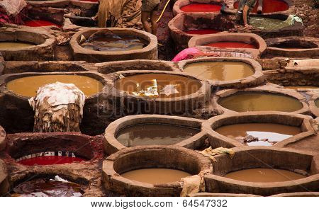 Tanneries of Fes - pools for coloring of leather on a traditional way