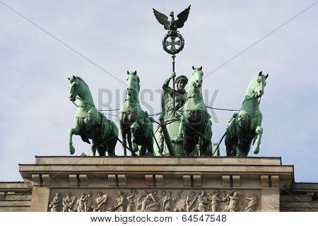 Quadriga on the top of Brandenbrurg gate in Berlin, Germany