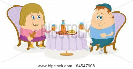 Children near table, isolated
