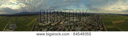 Aerial panorama of suburban town Kamnik in Slovenia