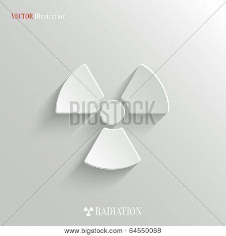 Radioactivity Icon - Vector White App Button