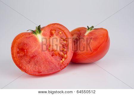 Halved Ripe Red Fresh Tomato
