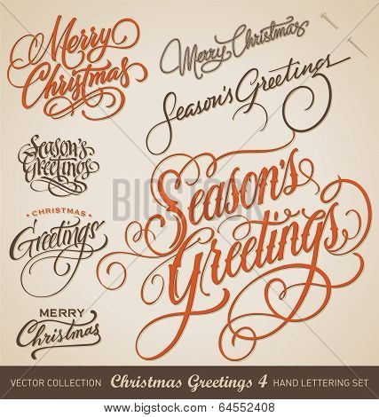 CHRISTMAS GREETINGS hand lettering set (vector)