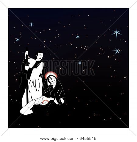 Holy family nativity and starry background - vector