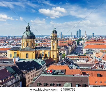 Aerial view of Munich over Theatine Church of St. Cajetan (Theatinerkirche St. Kajetan) and Odeonplatz, Munich, Bavaria, Germany