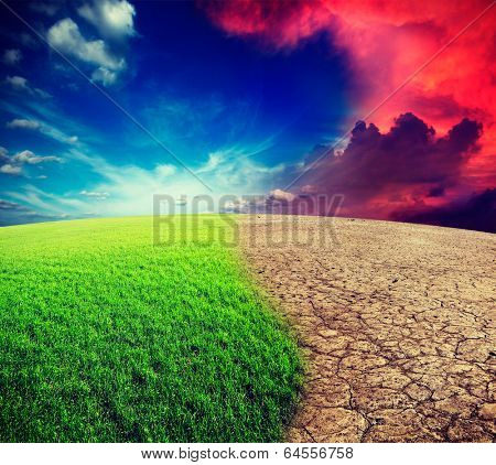 Vintage retro effect filtered hipster style travel image of ecology landscape - climate change concept, desert invasion