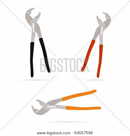 Vector Pincers Illustration Set Isolated on White Background