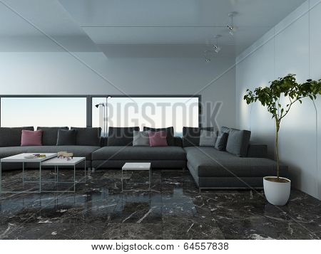 Picture of airy living room interior with marble floor and couch