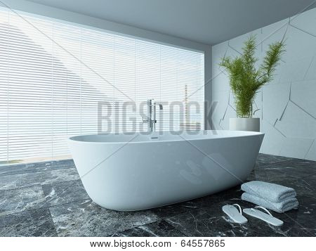Picture of contemporary white bathroom interior with marble floor