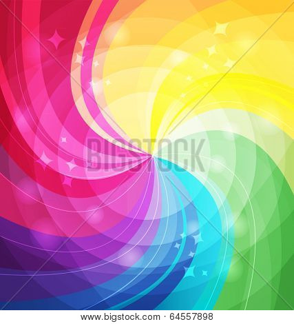 Rainbow bright background with rays. Vector illustraion